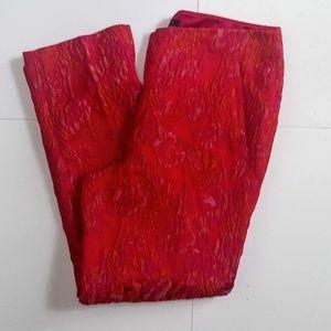 Elie Tahari Embossed Brocade Pants Floral Red 8